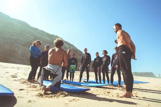 cliff surf camp santa cruz west portugal beginners surf class